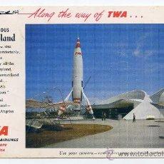 Postales: DISNEYLAND TWA ROCKET TO THE MOON. CIRCULADA POR CORREO AEREO A ESPAÑA (VER FOTO ADICIONAL). Lote 32183399