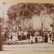 Postales: ANTIGUA FOTOGRAFIA ALBUMINA DE MEXICO 1903 DIA 5 DE MAYO DE 1903 FIESTA CONCENTRACION EN PLAZO CON U. Lote 32865706