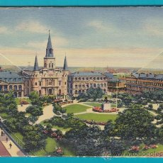Postales: GRUPO POSTAL CATEDRAL ST. LOUIS LOS ANGELES, NEW ORLEANS AÑOS 40, COMPLETO SIN USO. Lote 34613213