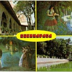 Postales: CUERNAVACA, MORELOS, MÉXICO.- CUATRO ASPECTOS DEL JARDÍN BORDA.. Lote 38095924