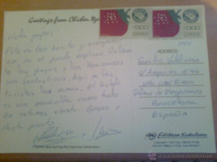 Postales: PRECIOSA POSTAL CIRCULADA 1995 CHICHEN ITZA MEXICO PIRAMIDE EQUINOCCIO EDITORA KUKULCAN CON SELLO - Foto 2 - 39822005