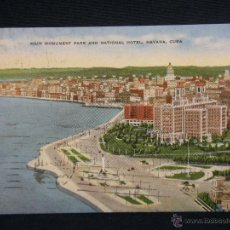 Postales: POSTAL COLOR CUBA HAVANA MAIN MONUMENT PARK & NATIONAL HOTEL PUB. BY ROBERTS & CO CIRCULADA 1951. Lote 39953360