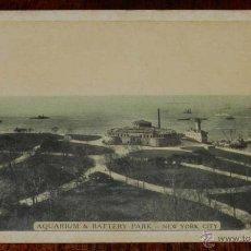 Postales: ANTIGUA POSTAL DE NEW YORK CITY, AQUARIUM & BATTERY PARK, NO CIRCULADA, ESCRITA, ED. LUMITONE PH. Lote 38275666