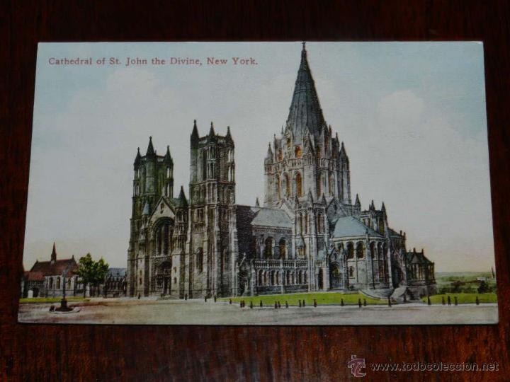 ANTIGUA FOTO POSTAL, NUEVA YORK, CATEDRAL DE SAN JUAN EL DIVINO, SIN CIRCULAR, NEW YORK, CATHEDRAL O (Postales - Postales Extranjero - América)