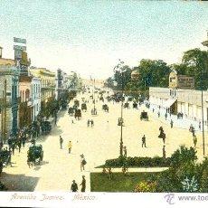 Postales: MÉXICO. AVENIDA JUAREZ. POSTAL COLOR, SIN CIRCULAR, C. 1905. Lote 40270918