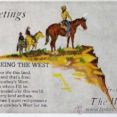 Postales: GREETINGS FROM THE WEST. OLD POSTAL CARD. ORIGINAL. 1950S. Lote 40339812