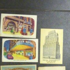 Postales: 5 POSTALES HOTELES VIAJE ESTADOS UNIDOS . HOTEL CONVERSE NIAGARA CARTER RUTA ULTRAMAR EXPRESS 1957. Lote 40734172