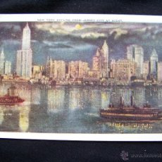 Postales: POSTAL COLOREADA CIRCULADA NUEVA YORK Nº 203 NEW YORK SKYLINE FROM JERSEY CITY BY NIGHT. Lote 41426091