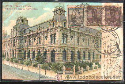 TARJETA POSTAL DE BUENOS AIRES - PALACIO DE AGUAS CORRIENTES. DIRIGIDA DE ARGENTINA A MATANZAS, CUBA (Postales - Postales Extranjero - América)