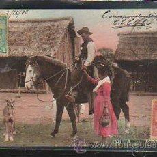 Postales: TARJETA POSTAL BUENOS AIRES - GAUCHO. DIRIGIDA DESDE ARGENTINA A MATANZAS, CUBA. Lote 42518457