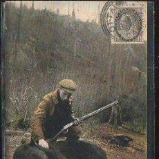 Postales: TARJETA POSTAL DE BEAR HUNTING IN CANADA. A GOOD SHOT. CIRCULADA A MATANZAS, CUBA. Lote 42823453
