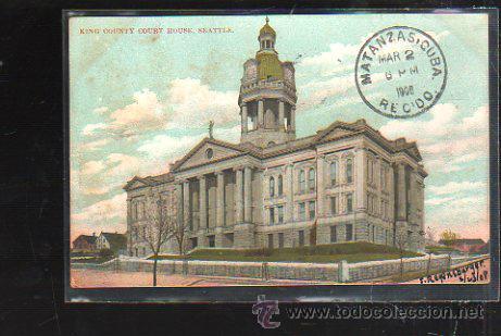 TARJETA POSTAL DE SEATTLE - KING COUNTY COURT HOUSE. CIRCULADA A MATANZAS, CUBA (Postales - Postales Extranjero - América)