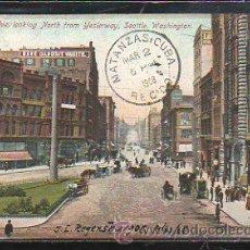 Postales: TARJETA POSTAL DE SEATTLE - FIRST AVE. CIRCULADA A MATANZAS, CUBA. Lote 42824701