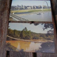 Postales: 2 POSTALES USA POPLAR ST. BRIDGE AERIAL SKYLINE, SWINGING BRIDGE ARKANSAS SAIN LOUIS. Lote 43267510