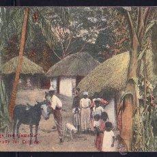 Postales: GREETINGS FROM JAMAICA RECOLECCION DE BANANA CIRCULADA A REINO UNIDO. Lote 45654164
