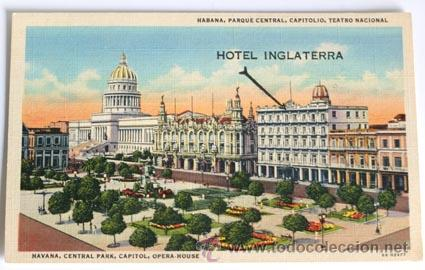 POSTAL DE LA HAVANA, PARQUE CENTRAL, CAPITOLIO, TEATRO NACIONAL, CON SOBRE IMPRESIÓ HOTEL INGLATERRA (Postales - Postales Extranjero - América)