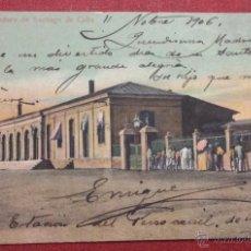 Postais: CUBA. FERROCARRIL. PARADERO DE SANTIAGO DE CUBA. REVERSO SIN DIVIDIR. CIRCULADA EN 1906. Lote 48432058
