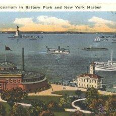Postales: AQUARIUM IN BATTERY PARK AND NEW YORK HARBOR. Lote 48724407