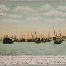 Postales: HABANA ARRIVAL OF S.S. - LLEGADA DE UN TRASATLÁNTICO CIRCULADA EN 1908. Lote 49153292