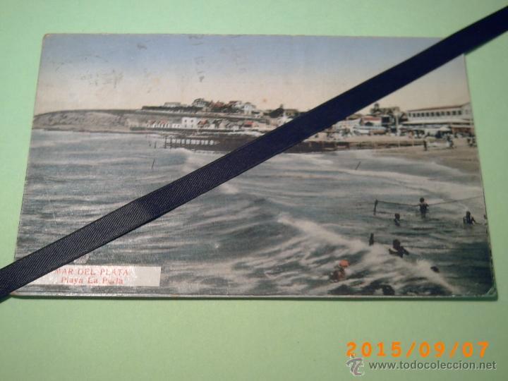 ANTIGUA POSTAL MAR DEL PLATA -PLAYA LA PERLA-BUENOS AIRES-ARGENTINA-ED. CASA ATANET 1932 (Postales - Postales Extranjero - América)