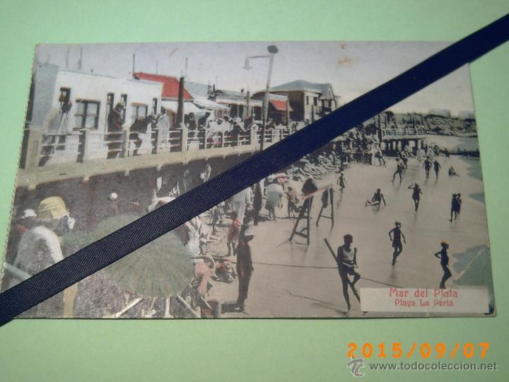ANTIGUA POSTAL MAR DEL PLATA -PLAYA LA PERLA-BUENOS AIRES-ARGENTINA-ED. LIBRERIA REY 1933 (Postales - Postales Extranjero - América)