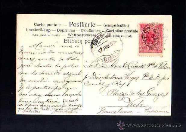 Postales: Brasil. Brazil. Estado de Para. Cidade de Belem. Interior de la Catedral. Circulada 1906. - Foto 2 - 51585058