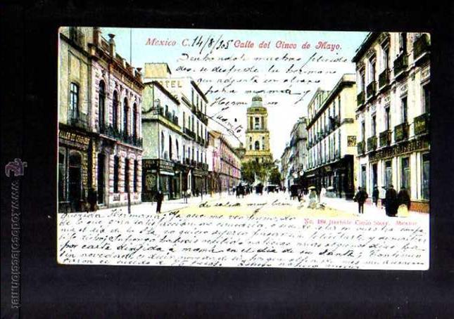 ANTIGUA POSTAL DE MEXICO. CALLE 5 DE MAYO. CIRCULADA 1905 (Postales - Postales Extranjero - América)