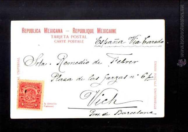 Postales: Antigua postal de Mexico. Calle 5 de Mayo. Circulada 1905 - Foto 2 - 53003527