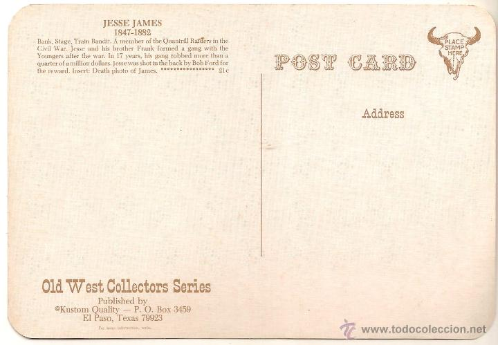 Postales: ANTIGUA POSTAL,JESSE JAMES (1847-1882) - OLD WEST COLLECTORS SERIES - SIN CIRCULAR - Foto 2 - 53896591