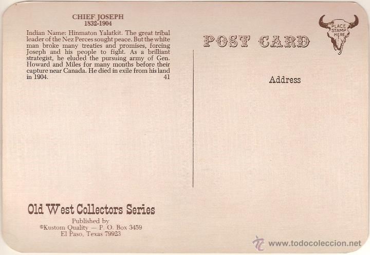 Postales: ANTIGUA POSTAL, HINMATON YALATKIT, JEFE JOSEPH (1832-1904) - OLD WEST COLLECTORS SERIES - S/C - Foto 2 - 55325162