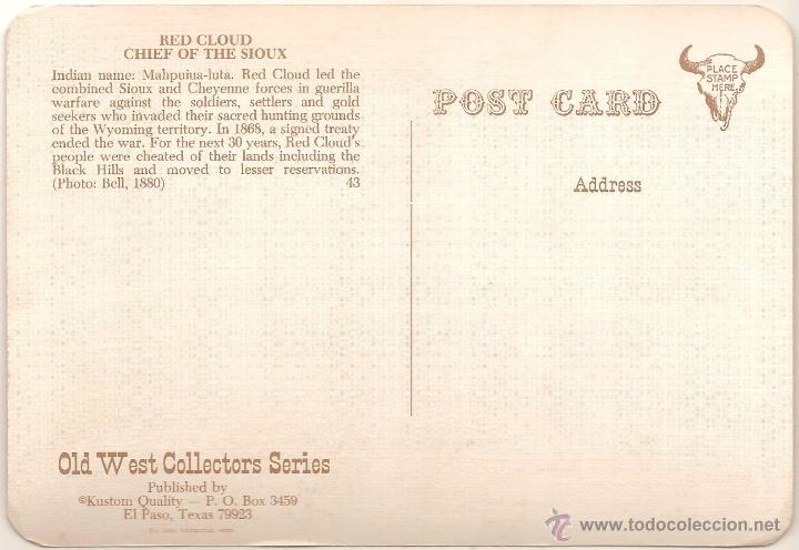 Postales: ANTIGUA POSTAL, RED CLOUD, JEFE SIOUX - OLD WEST COLLECTORS SERIES - SIN CIRCULAR - Foto 2 - 55325177