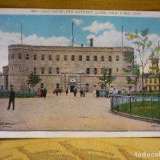Postales: TARJETA POSTAL DE NEW YORK. AQUARIUM AND BATTERY PARK. SIN CIRCULAR. PRINCIPIOS DEL SIGLO XX.. Lote 62105256