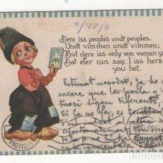 Postales: (ALB-TC-4) POSTAL INFANTIL MADE IN USA ESCRITA CON SELLO DETERIORADO 1913. Lote 63897035
