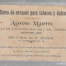Postales: TARJETA PUBLICITARIA. CUBA. TALLERES DE ENVASES PARA TABACOS Y DULCES. ALONSO MARTIN. HABANA.. Lote 75974455