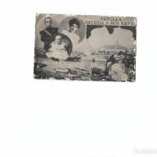 Postales: RARA POSTAL CIRCULADA ARGENTINA 1916. SEVILLA SALUDA A SUS REYES. Lote 78341465