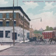 Postales: MILL AND STAFFORD STREETS PLAYMOUTH , WIS. Lote 98107831