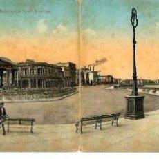 Postales: JOQ50- ANTIGUA POSTAL DOBLE LA HABANA -CUBA -EL MALECON Y AVDA. DEL GOLFO CIRCULADA EN 1916. Lote 100540255