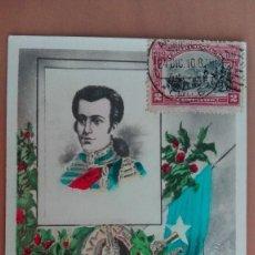 Postales: POSTAL LIBERTADOR JOSE MIGUEL CARRERA CHILE MILITAR Y POLITICO CHILENO SIGLO XIX CIRCULADA 1910. Lote 100572883