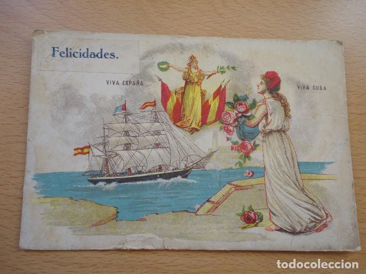 POSTAL UNION POSTAL DE CUBA VIVA ESPAÑA VIVA CUBA FECHADA EN 1917 FELICIDADES (Postales - Postales Extranjero - América)