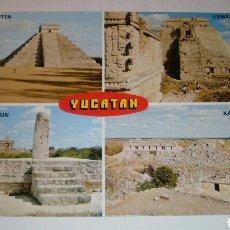 Postales: POSTAL DE YUCATÁN, MÉXICO. CHICHEN ITZA, DZIBILCHALTUN, UXMAL, KABAH. Lote 102542102