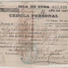 Postales: ISLA DE CUBA. CÉDULA PERSONAL. AÑO DEL 1897 . Lote 103687983