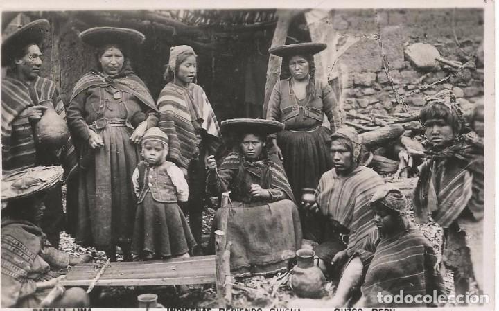 BASELLI LIMA INDIGENAS BEBIENDO CHICHA CUZCO PERU FOTOGRAFIA POSTAL NO DIVIDIDA AÑO 1930 (Postales - Postales Extranjero - América)