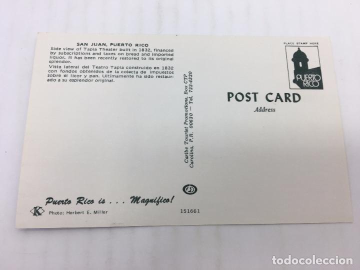 Postales: POSTAL SIN CIRCULAR DE SAN JUAN DE PUERTO RICO - VISTA LATERAL DEL TEATRO - Foto 2 - 106936063