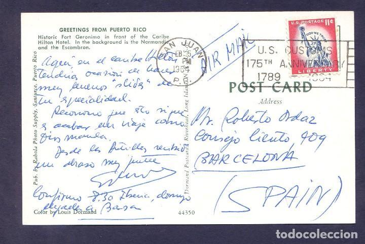 Postales: Puerto Rico. San Juan. *Greetings from Puerto Rico* Circulada 1964. - Foto 2 - 110644407