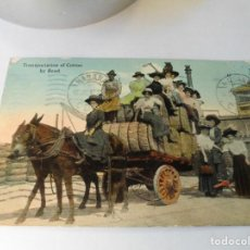 Postales: MAGCIFICA ANTIGUA POSTAL,NEW ORLEANS.TRANSPORTATION OF COTTON BY ROAD.FECHADA EN 1912. Lote 113083827