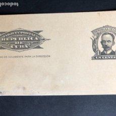 Postales: TARJETA POSTAL REPUBLICA DE CUBA 1 CENTAVO.JOSE MARTI. Lote 118713392