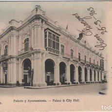 Postales: CUBA.HABANA: PALACIO Y AYUNTAMIENTO EDICIÓN WILSON´S VERSIÓN COLOREADA. RARA. Lote 119387179