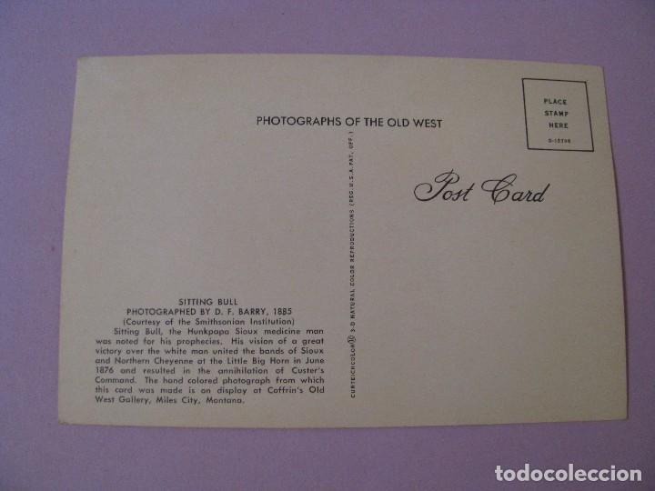 Postales: POSTAL DE PHOTOGRAPHS OF THE OLD WEST. CURTEICHCOLOR. INDIO LLAMADO SITTING BULL. - Foto 2 - 122711895