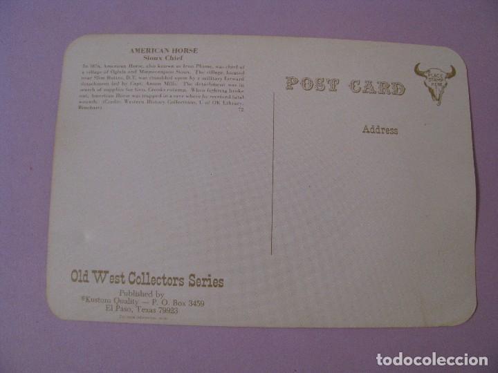 Postales: POSTAL DE SERIE OLD WEST COLLECTORS SERIES. INDIO LLAMADO AMERICAN HORSE. - Foto 2 - 122712271