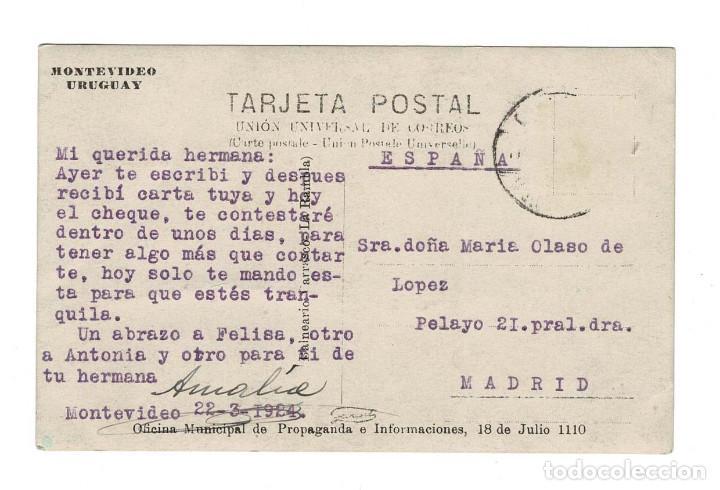 Postales: Montevideo (Uruguay) 1924 Postal fotográfica. circulada a Madrid - Foto 2 - 132642218